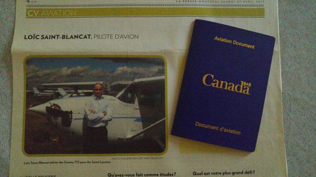 Loïc Saint-Blancat pilote avion Canada